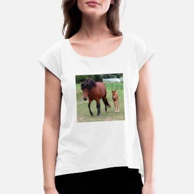 Horse horses ride mare foal horse poster animal - Women's Rolled Sleeve T-Shirt