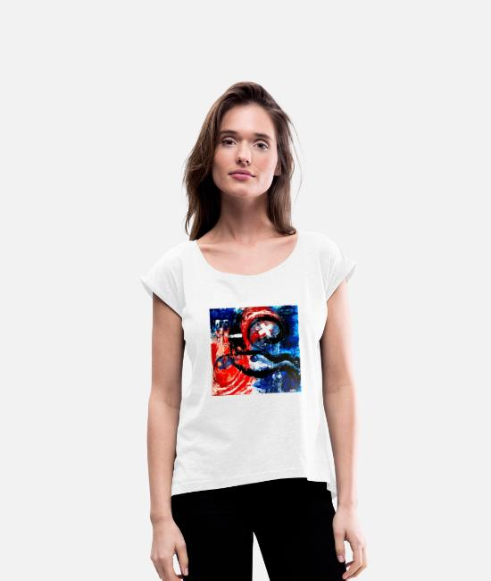 Art T-Shirts - Abstract face - Women's Rolled Sleeve T-Shirt white