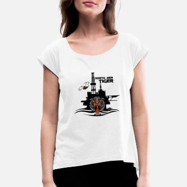 Oil Rig North Sea Tiger Oil Rig Platform Aberdeen - Women's Rolled Sleeve T-Shirt