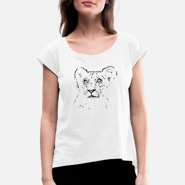 Cute Lion Cub Lion Cub - Women's T-Shirt with rolled up sleeves