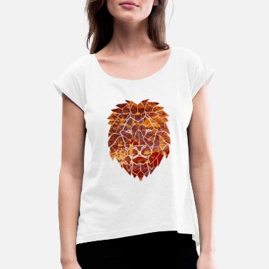 Fire lion - Women's Rolled Sleeve T-Shirt