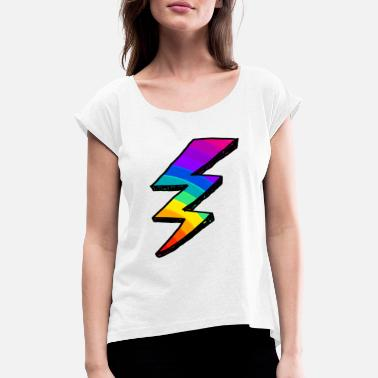 Tempest Colorful lightning Bolt. Rainbow - Women's Rolled Sleeve T-Shirt
