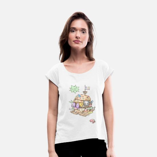 Kita T-Shirts - The Island Burgers - Women's Rolled Sleeve T-Shirt white