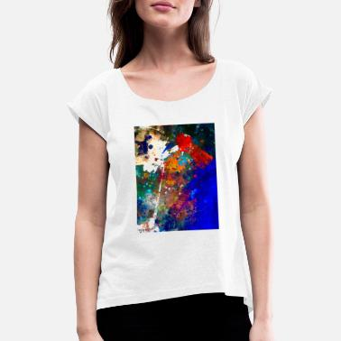 Kent Artwork - blue red white - Frauen T-Shirt mit gerollten Ärmeln