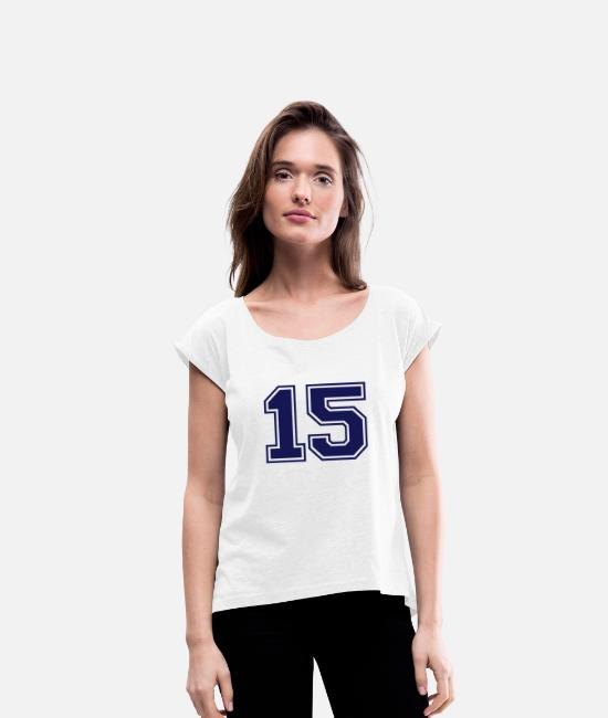Numbers T-Shirts - 15 - Women's Rolled Sleeve T-Shirt white