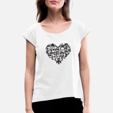 Console controller in love with gamer heart - Women's Rolled Sleeve T-Shirt