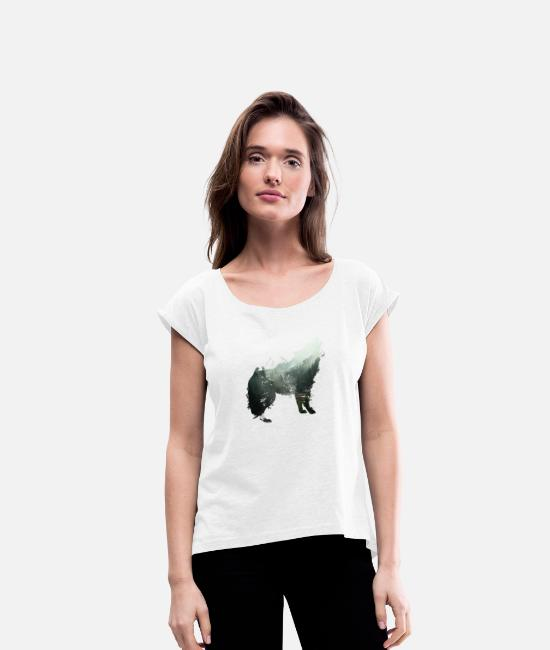 Hipster T-Shirts - The wolf is the forest - Women's Rolled Sleeve T-Shirt white