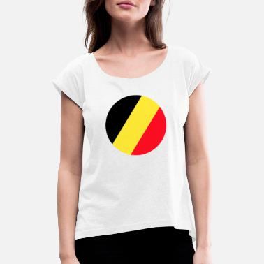 Belgium Flag Belgium, Belgium flag, Belgium flag, world champion - Women's T-Shirt with rolled up sleeves