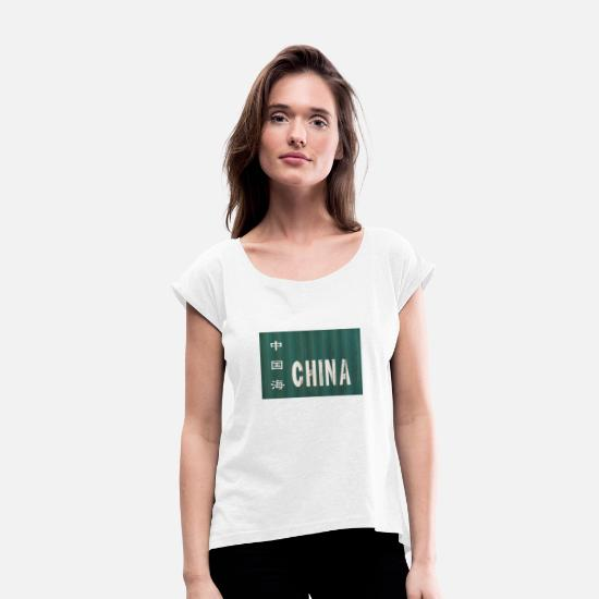 Container T-Shirts - Flight to China - Women's Rolled Sleeve T-Shirt white