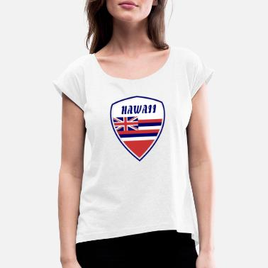 Pearl Harbour Hawaii Våbenskjold / Gave Honolulu Flag Surfing - Dame T-shirt med rulleærmer