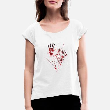 Blood Splatter Blood Print - Blood Hands - Blood Splatters - Blood - Women's Rolled Sleeve T-Shirt