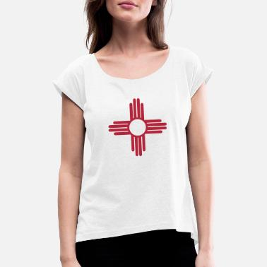 Santa Ancient Sun Symbol of the Zia - Women's Rolled Sleeve T-Shirt