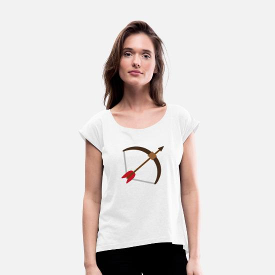 Arrow And Bow T-Shirts - Bow and arrow - bow and arrow - Women's Rolled Sleeve T-Shirt white