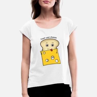 Bacon Toast and cheese Love - Women's Rolled Sleeve T-Shirt