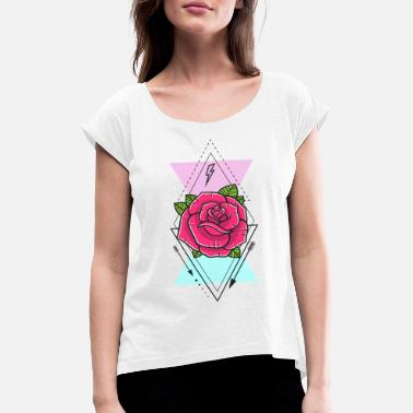 Nature Collection Rose mit Dreiecken - Frauen T-Shirt mit gerollten Ärmeln