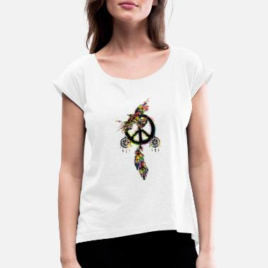 Cather Peace dream cather bird - Women's Rolled Sleeve T-Shirt