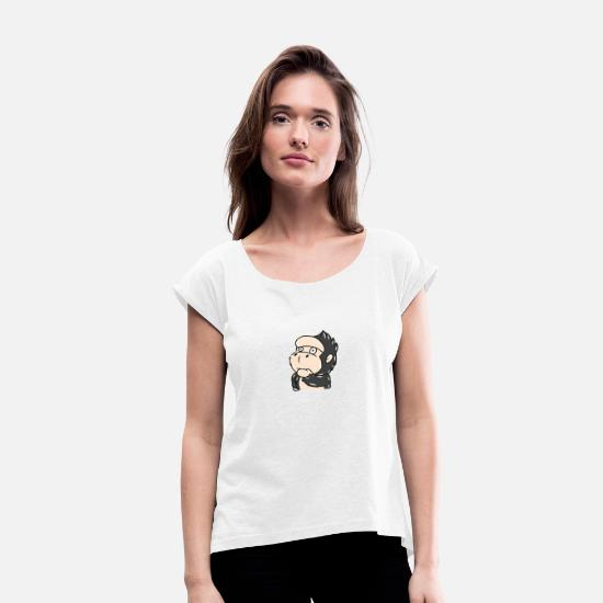 Gift Idea T-Shirts - gorilla - Women's Rolled Sleeve T-Shirt white