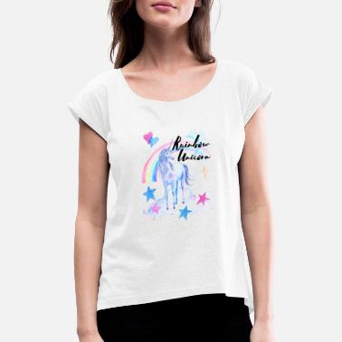 Rainbow Unicorn Rainbow Unicorn / Rainbow Unicorn - Women's T-Shirt with rolled up sleeves