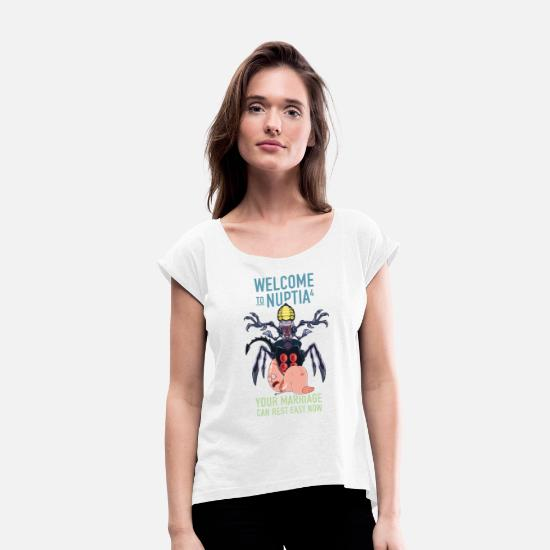 Serie T-shirts - Rick and Morty Welcome To Nuptia - Vrouwen T-shirt met opgerolde mouwen wit