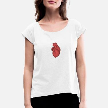 Heartful heart with heartbeat - Women's Rolled Sleeve T-Shirt