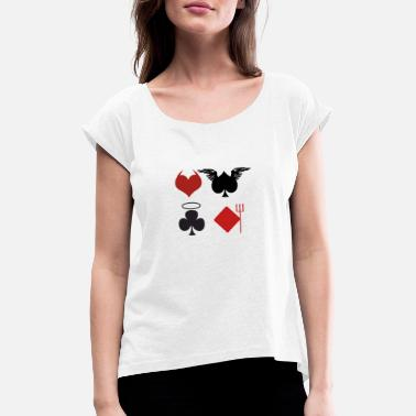 Casino Poker Blackjack Ass Devil Devil Casino Angel Card - Women's Rolled Sleeve T-Shirt