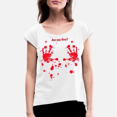 5bb8ee69 Halloween splatter horror Skummelt blodidee - T-skjorte med rulleermer for  kvinner