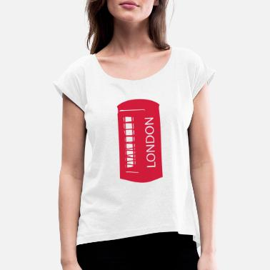 Booth LONDON red telephone booth - Women's Rolled Sleeve T-Shirt