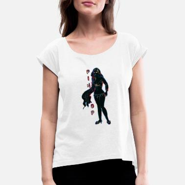 Toppers pin up girl with topper black - Women's T-Shirt with rolled up sleeves