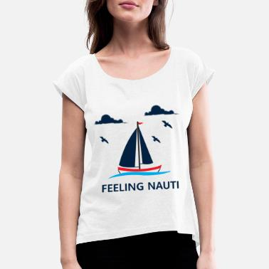Anchor Sailing Boating Sailboat Lovers Gift - Women's Rolled Sleeve T-Shirt