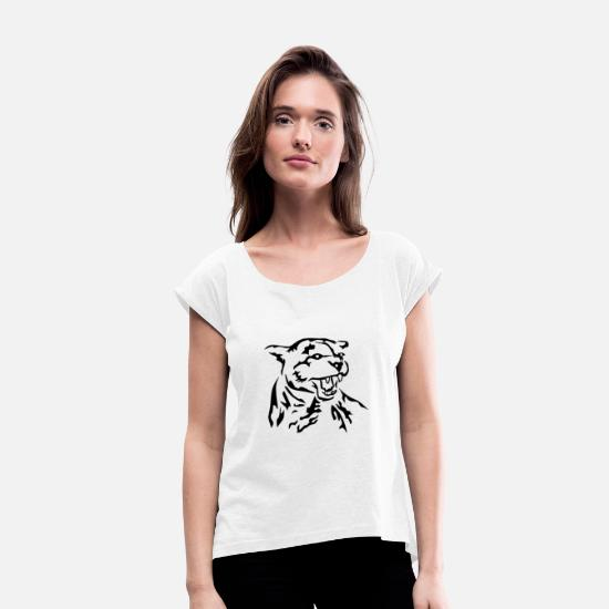 Cat T-Shirts - Attacking wildcat - Women's Rolled Sleeve T-Shirt white
