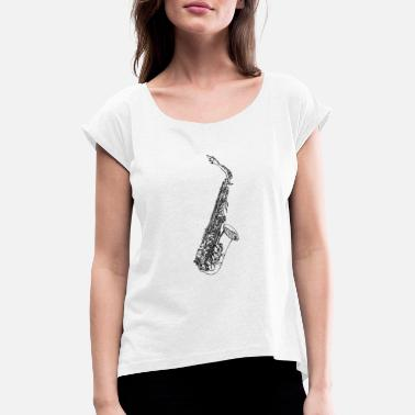 Saxeophonist saxophone pencil - Women's Rolled Sleeve T-Shirt