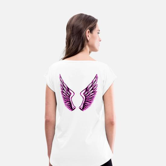 Heaven T-Shirts - 2reborn fluegel angel angel wings heaven heaven - Women's Rolled Sleeve T-Shirt white