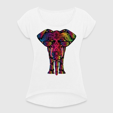 ELEPHANT / YOGA / BUDDHA T-SHIRT. - Women's T-shirt with rolled up sleeves