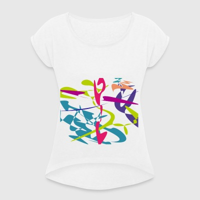 Curved tangram - Women's T-shirt with rolled up sleeves