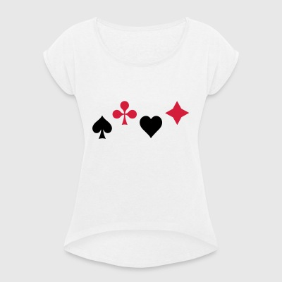 Spades Ass Heart Poker Blackjack Symbol Cards Casino - Women's T-shirt with rolled up sleeves