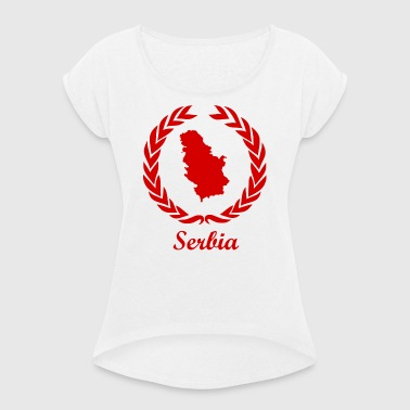Connect ExYu Serbia Red Editon - Women's T-shirt with rolled up sleeves
