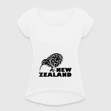 New Zealand Kiwi me lettering Zealand, black - Women's T-shirt with rolled up sleeves