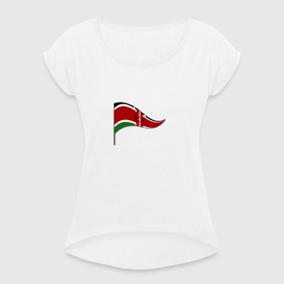Kenya Africa Nairobi flag Flag of the country - Women's T-shirt with rolled up sleeves