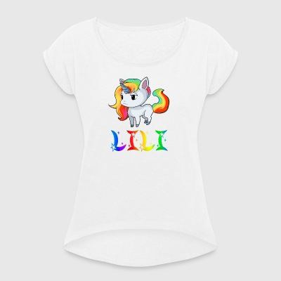 Lily Unicorn - Women's T-shirt with rolled up sleeves