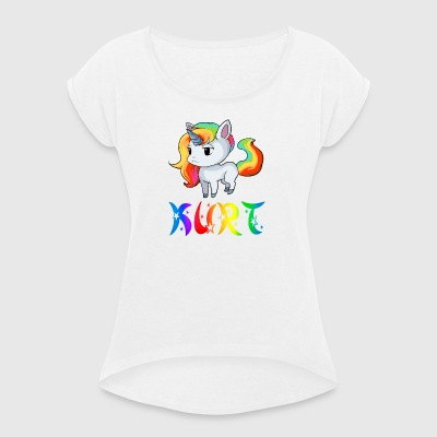 Unicorn Kurt - Women's T-shirt with rolled up sleeves