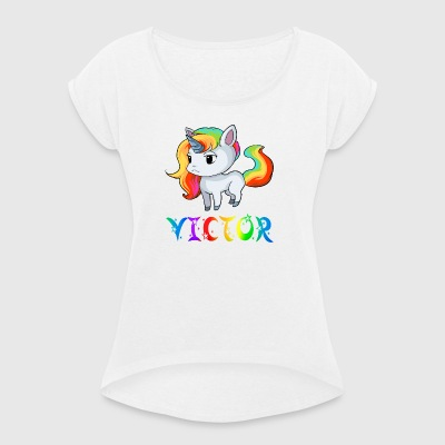 Unicorn Victor - Women's T-shirt with rolled up sleeves