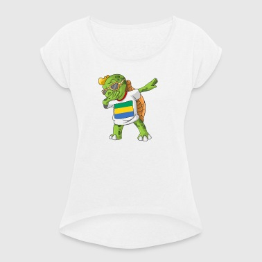 Gabon Dabbing turtle - Women's T-shirt with rolled up sleeves