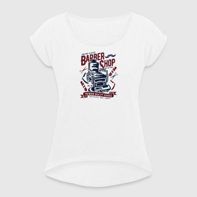 Vintage Barber Shop2 - Women's T-shirt with rolled up sleeves