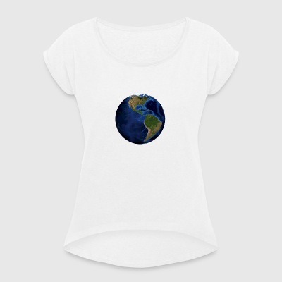 Earth Theme - We are all one - Women's T-shirt with rolled up sleeves