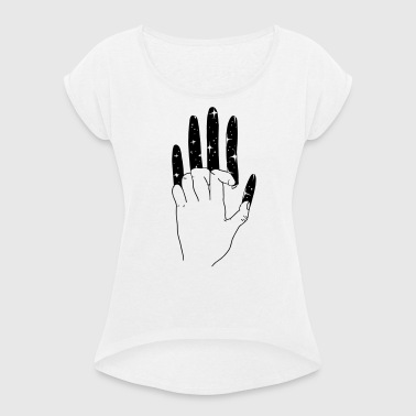 Scratching hand universe - Women's T-shirt with rolled up sleeves