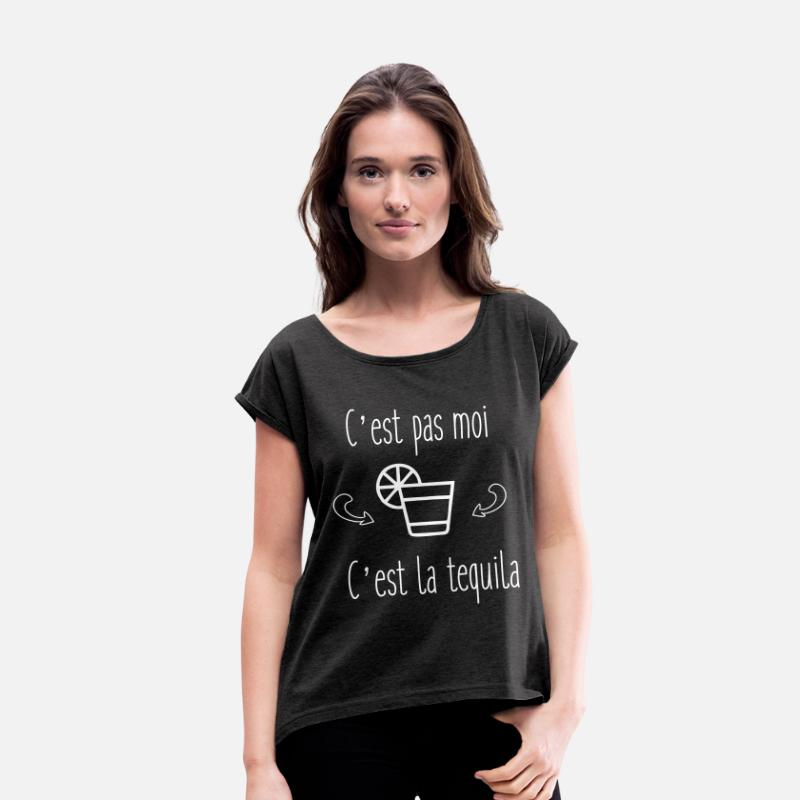 Citations T-shirts - humour - tequila citations - T-shirt à manches retroussées Femme noir chiné