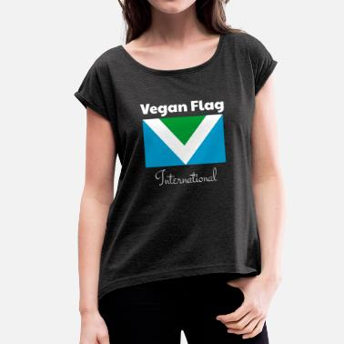 Vegane Flagge Offizielle Vegan Flag International Flagge Fahne - Frauen T-Shirt mit gerollten Ärmeln