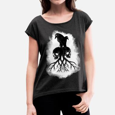 Mythical Collection Ravenskull - Vrouwen T-shirt met opgerolde mouwen