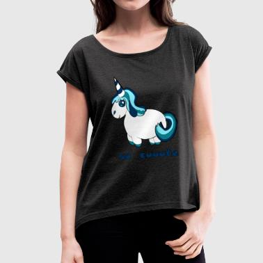 Unicorn comic - Women's T-Shirt with rolled up sleeves
