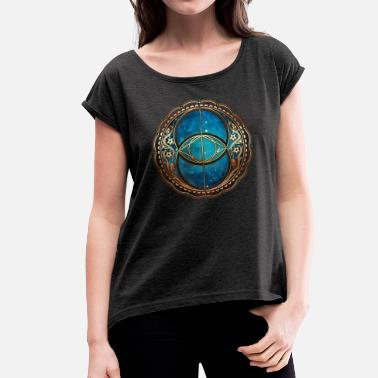 Vesica Piscis Vesica Piscis, Chalice Well, Sacred Geometry space - Women's T-Shirt with rolled up sleeves